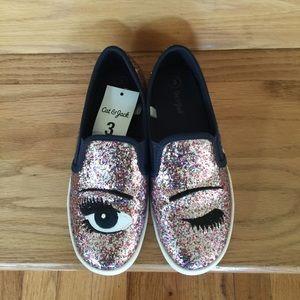 Cat & Jack Glitter eyelash & eye slip on/sneakers